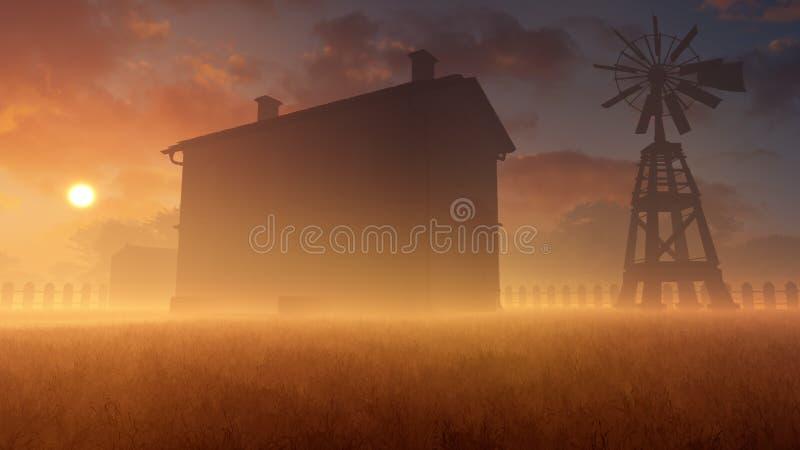 Casa e moinho de vento velhos em Misty Sunset ilustração do vetor