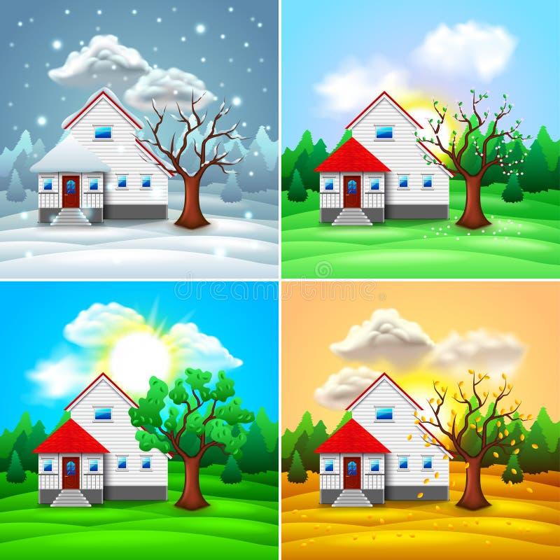 Casa e natureza vetor de quatro estações ilustração do vetor