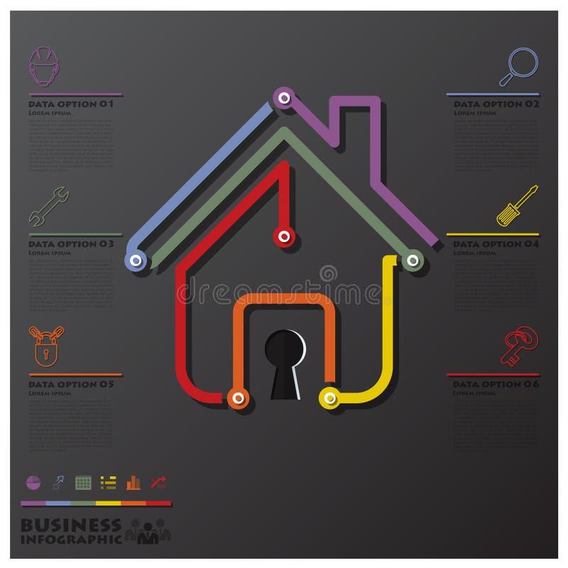Casa e negócio Infographic do espaço temporal da conexão de Real Estate ilustração royalty free