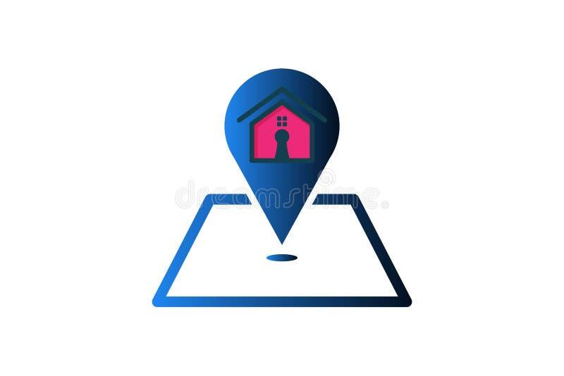 A casa e o mapa apontam a inspiração do logotipo isolados no fundo branco ilustração stock