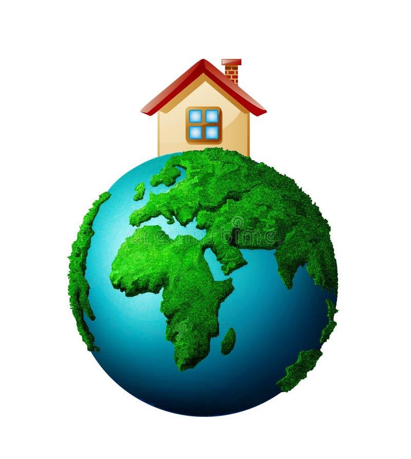 Casa e planeta ilustração royalty free