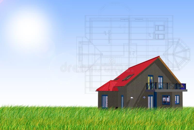 Casa e planta ilustração stock