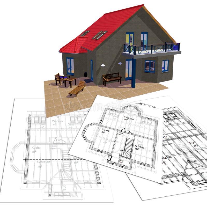 Casa e planta ilustração royalty free