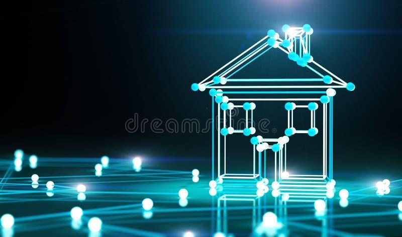 Casa e rede espertas ilustra??o 3D ilustração royalty free