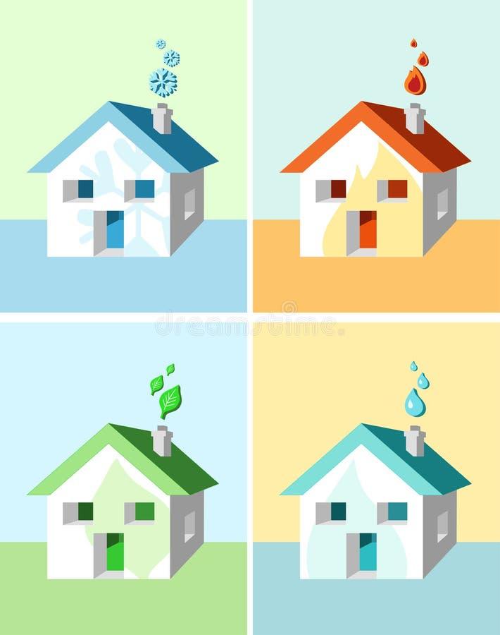 Casa e símbolos ilustração do vetor