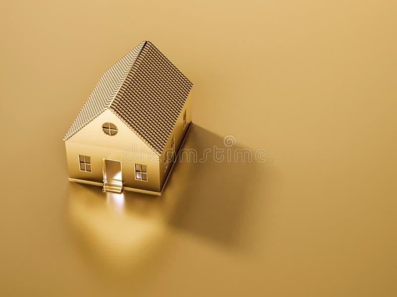 Casa e terra douradas com espaço da cópia, conceito abstrato, 3d rendido ilustração royalty free