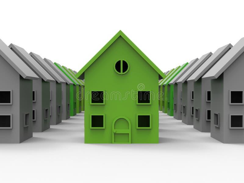Casa económica de energía de la vecindad stock de ilustración
