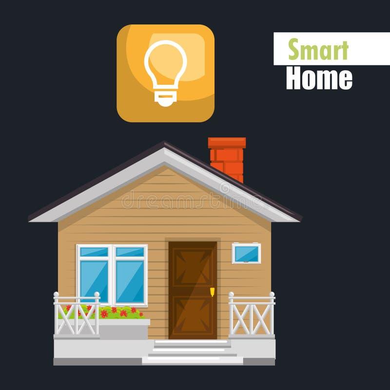 Casa elegante con servicio de la luz de bulbo stock de ilustración