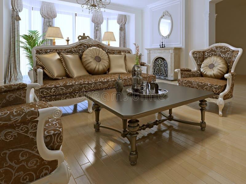 Casa elegante da sala da sala de estar em privado ilustração royalty free