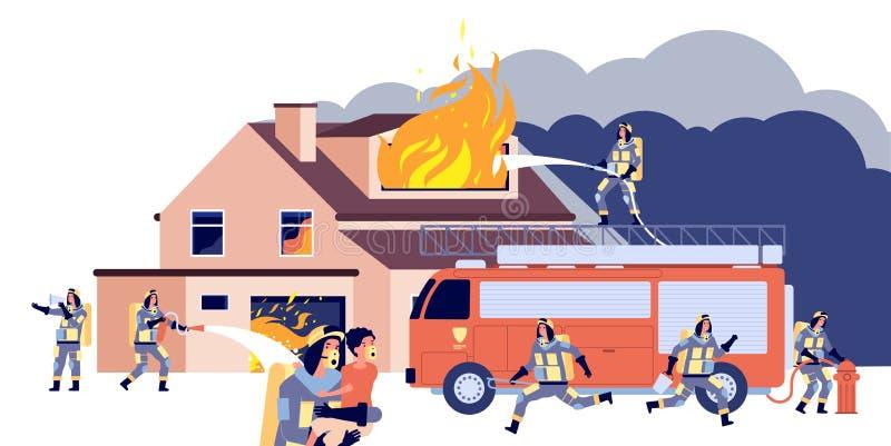 Casa em chamas Bombeiros de grupo que combatem incêndio Pessoas de salvamento, equipamento de caminhões de incêndio, pulverização ilustração royalty free