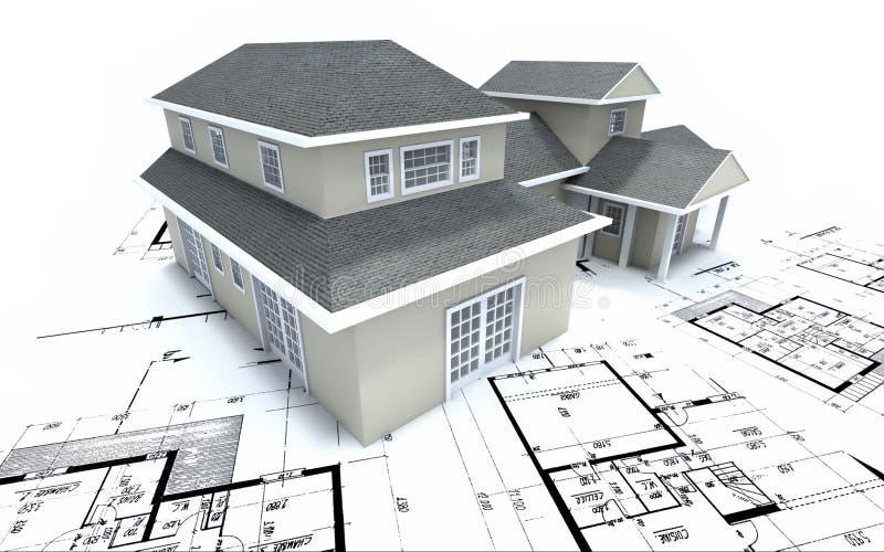 Casa em plantas do arquiteto ilustração stock