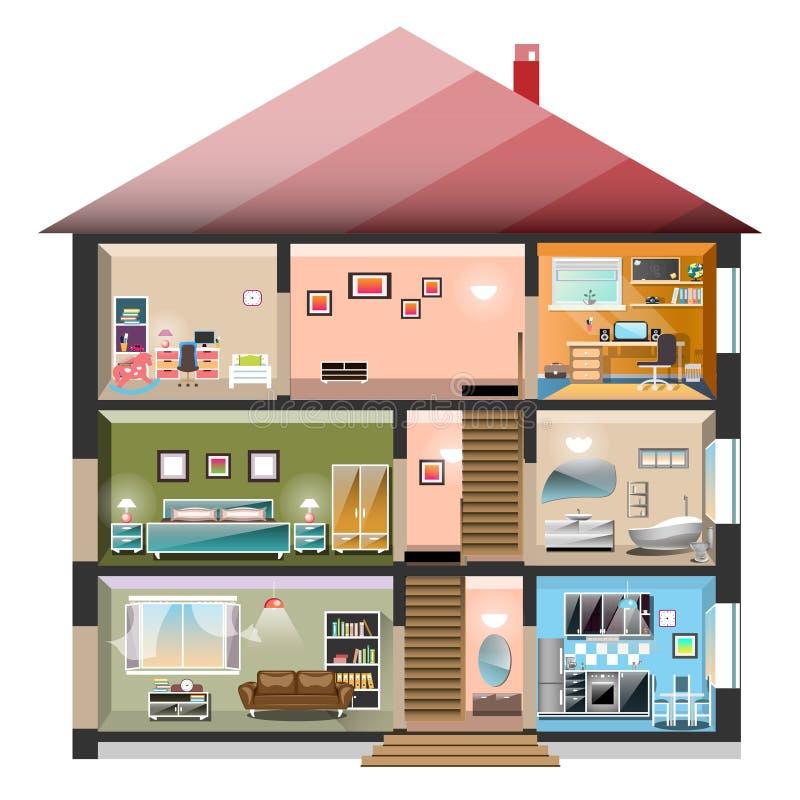 Casa em um corte isolado no fundo branco ilustração stock
