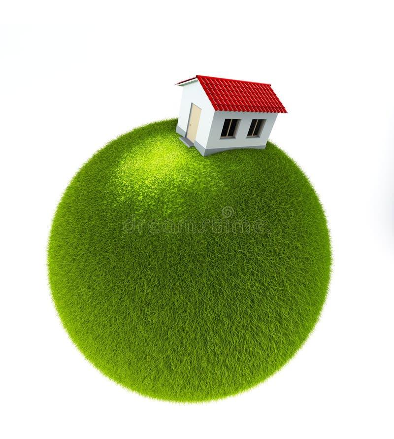Casa em um planeta verde pequeno ilustração do vetor