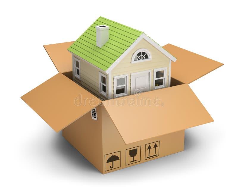 Casa em uma caixa ilustração do vetor