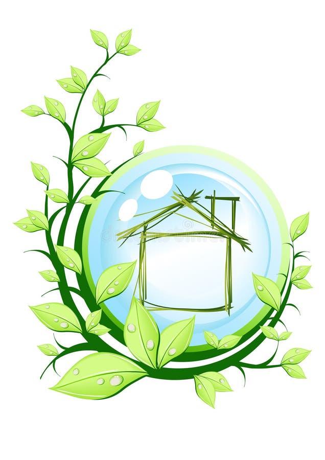 Casa en bola azul ilustración del vector