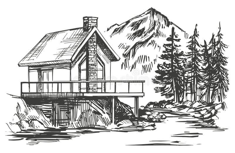 Casa en bosquejo dibujado mano del ejemplo del vector del paisaje de la montaña stock de ilustración