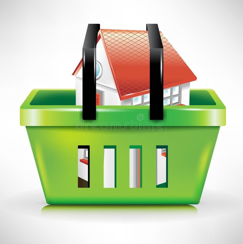 Casa en cesta de compras/carro stock de ilustración