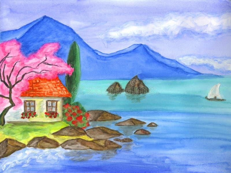 Casa en Crimea stock de ilustración