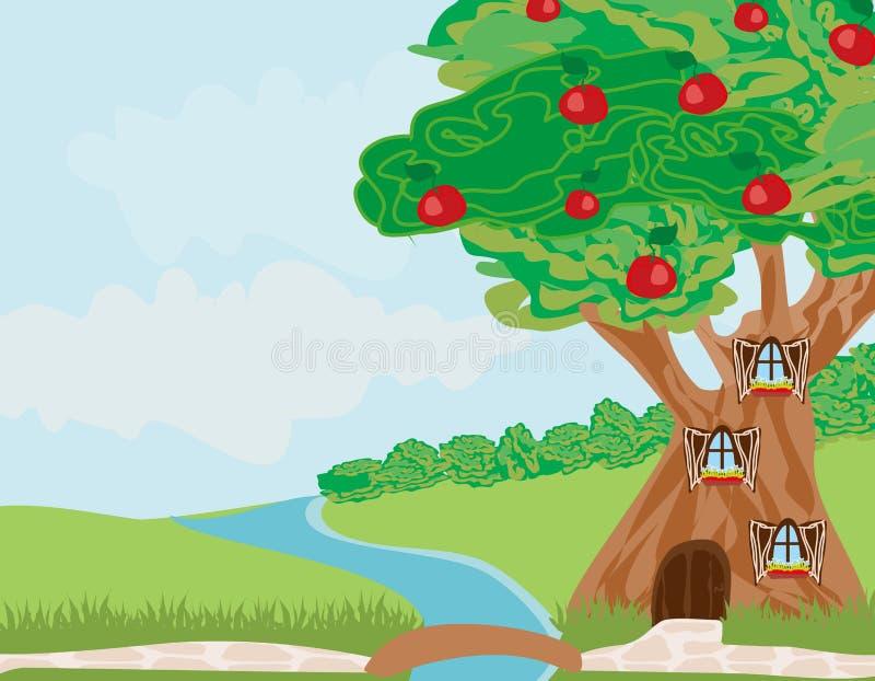 Casa en el árbol de la fantasía ilustración del vector