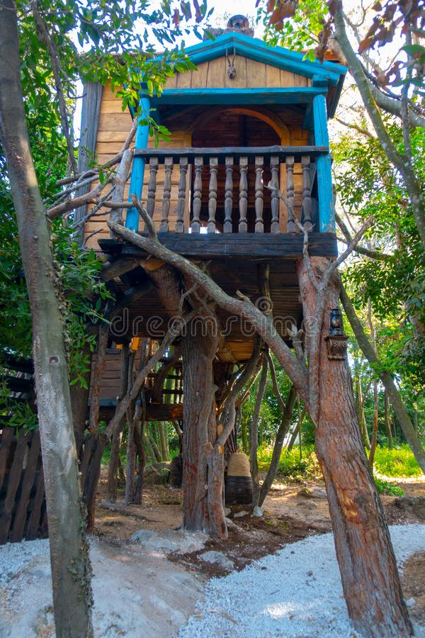Casa en el árbol de la fantasía para los niños, jugando foto de archivo libre de regalías