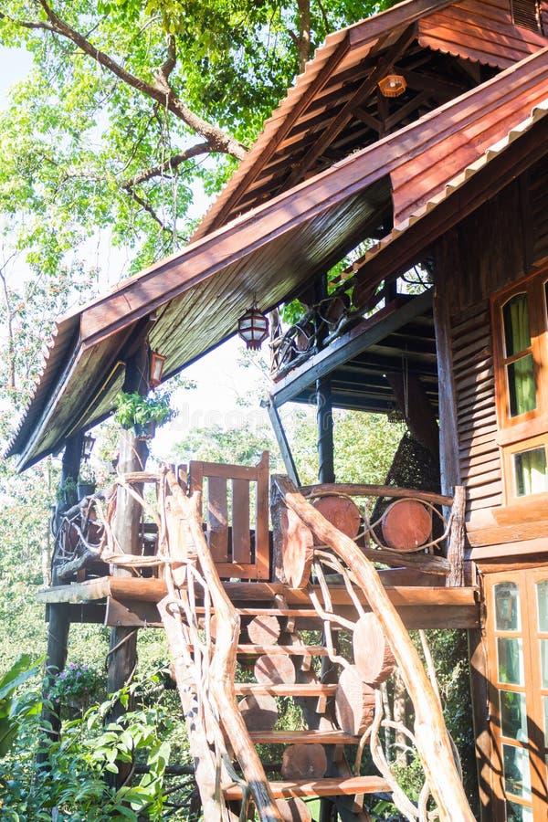 Casa En El árbol De Madera Tropical En Centro Turístico Imagen de ...