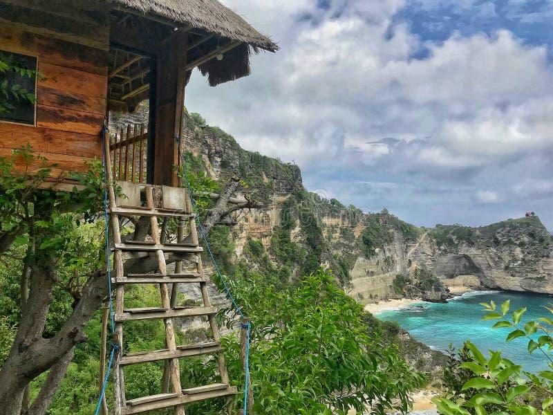Casa en el árbol en una isla tropical foto de archivo libre de regalías