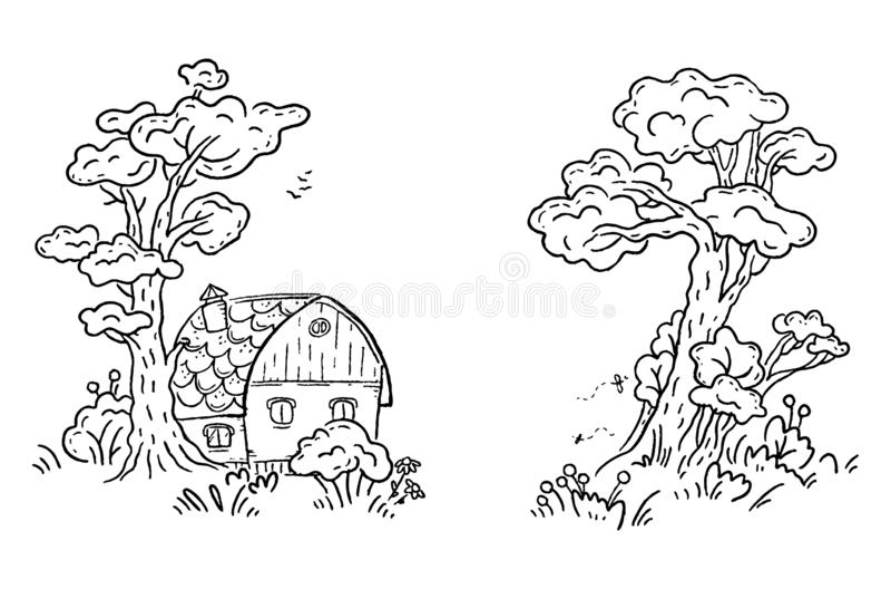 Casa en el bosque, clipart de la historieta del vector, blanco y negro stock de ilustración