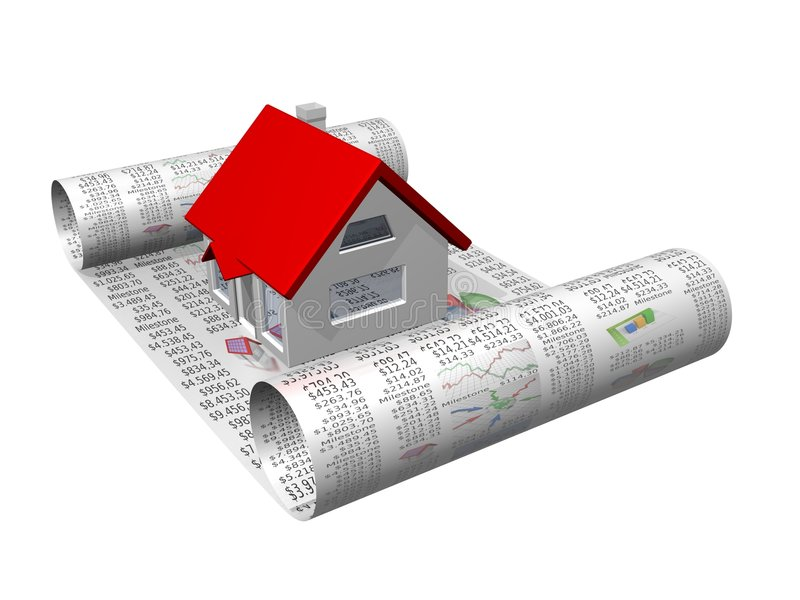 Casa en el documento comercial libre illustration