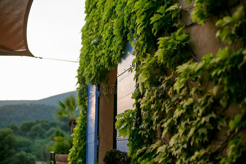 Casa en el verde en la puesta del sol imagen de archivo libre de regalías