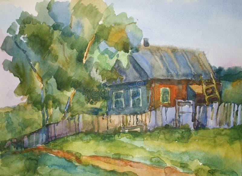 Casa en la aldea ilustración del vector