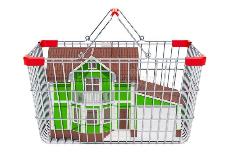 Casa en la cesta de compras, representación 3D ilustración del vector
