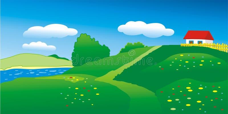 Casa en la colina ilustración del vector