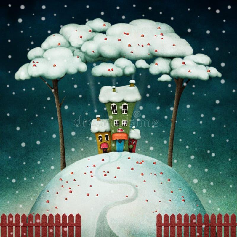 Casa en la colina nevosa stock de ilustración