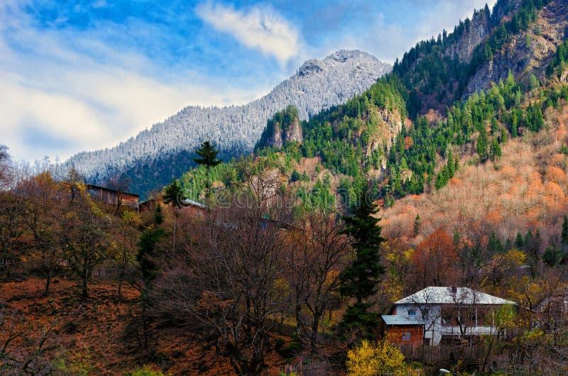 Casa en la ladera rodeada por los árboles del otoño, lugar de la soledad fotografía de archivo libre de regalías