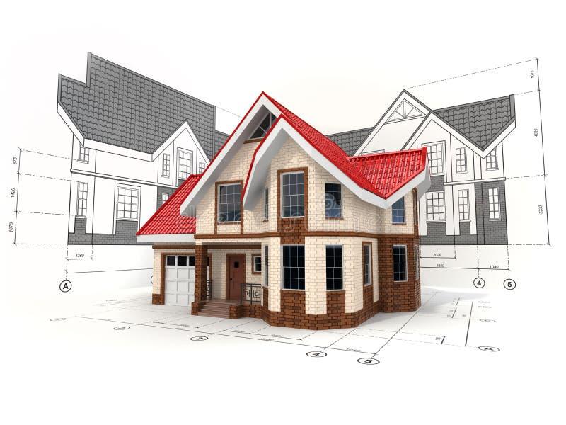 Casa en los proyectos en diversos proyecciones y modelos ilustración del vector