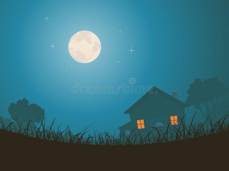 Casa en paisaje del claro de luna ilustración del vector