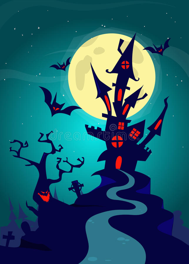 Casa encantada en fondo de la noche con una Luna Llena detrás Plantilla del fondo de Halloween del vector stock de ilustración