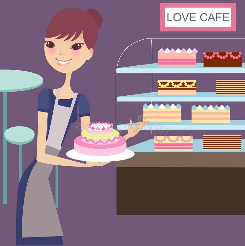 Casa encantadora do bolo ilustração stock