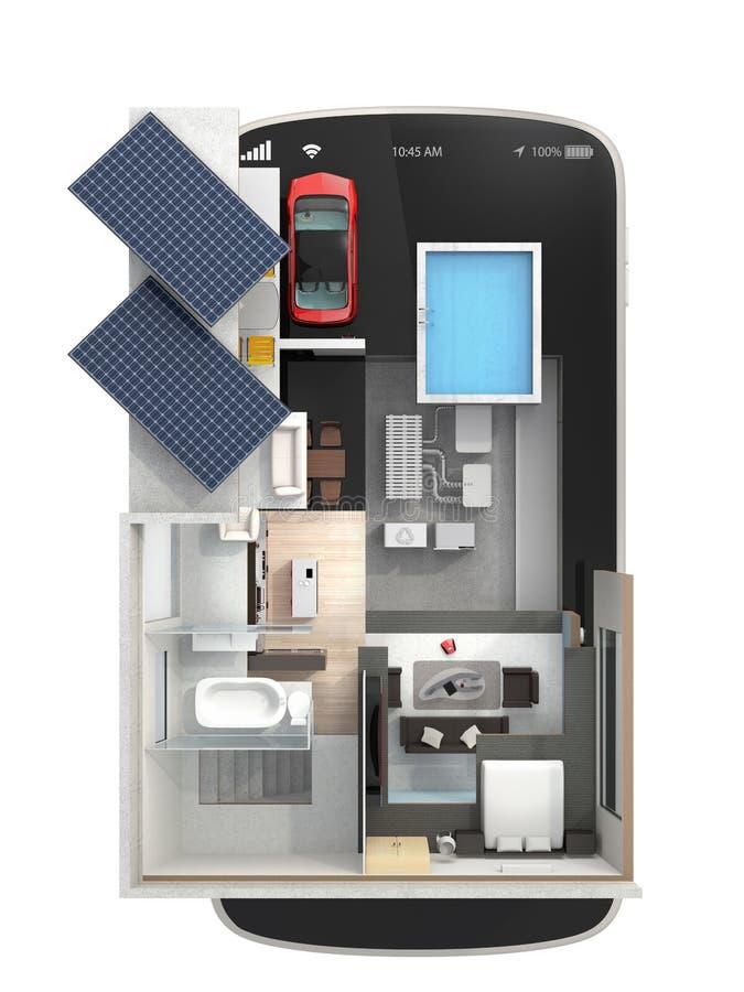 Casa Energia-eficiente em um telefone esperto ilustração royalty free