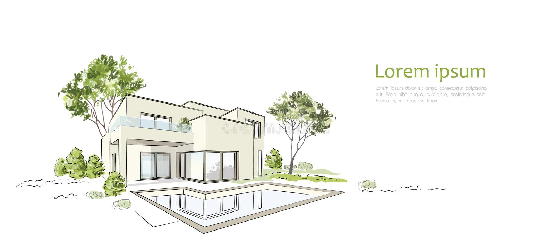 Casa esclusiva moderna di schizzo architettonico di vettore illustrazione di stock