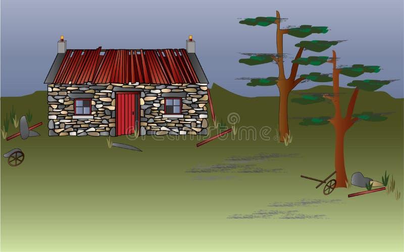Casa escocesa abandonada do croft das montanhas ilustração stock