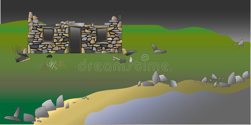 Casa escocesa abandonada do croft das montanhas na praia ilustração do vetor
