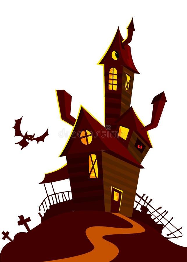 Casa espeluznante en fondo de la noche con una Luna Llena detrás Fondo de Halloween del vector con la casa encantada y el cemente ilustración del vector