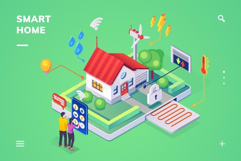 Casa esperta controlada pelo smartphone, vista isométrica ilustração stock