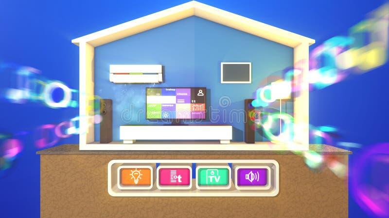 Casa esperta e bolhas musicais borradas ilustração stock