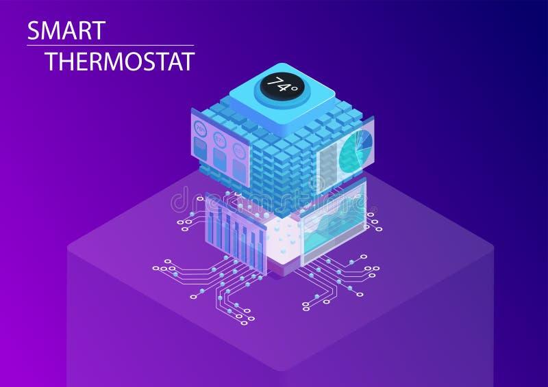 Casa esperta e conceito esperto do termostato ilustração isométrica do vetor 3d ilustração royalty free