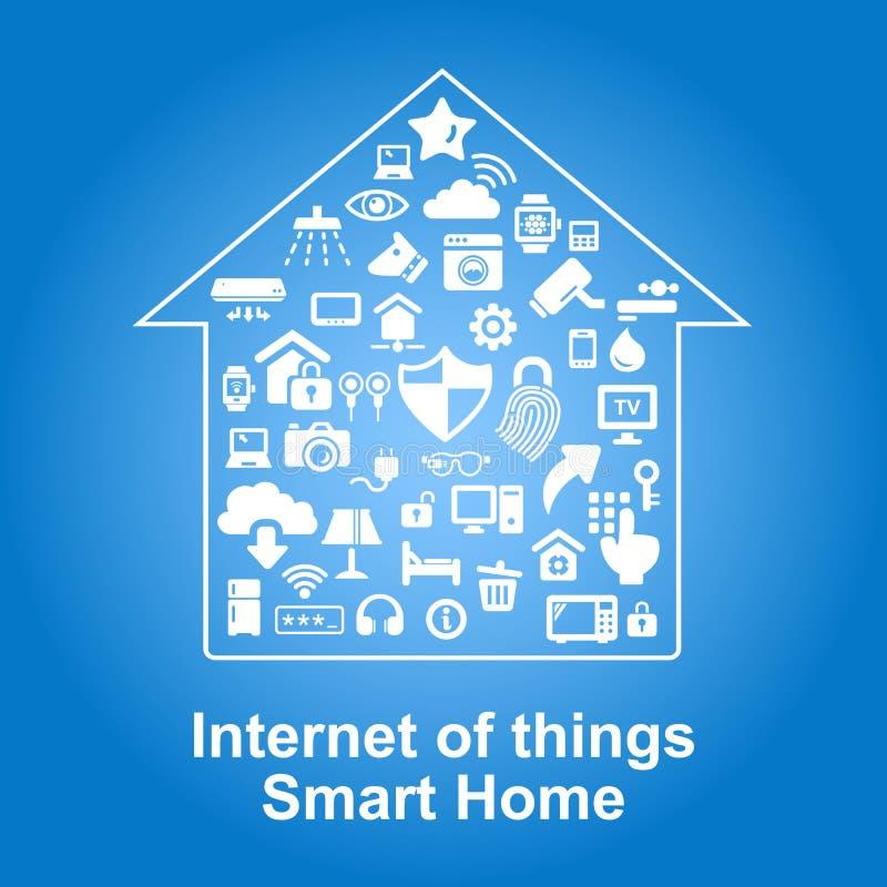 Casa esperta pelo conceito do Internet ilustração royalty free
