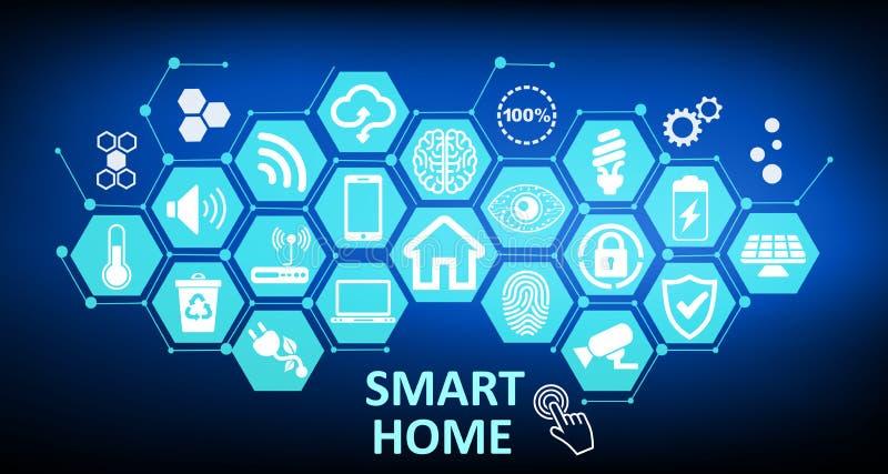 Casa esperta - relação futurista, assistente da automatização Sistema de controlo Conceito da rede da tecnologia da inovação ilustração stock