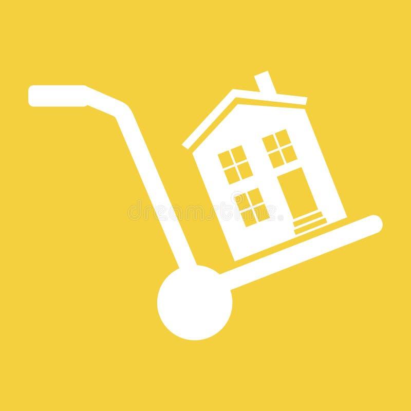 A casa está em um carro, simbolizando a venda, o arrendamento, mover-se ou o trai ilustração do vetor