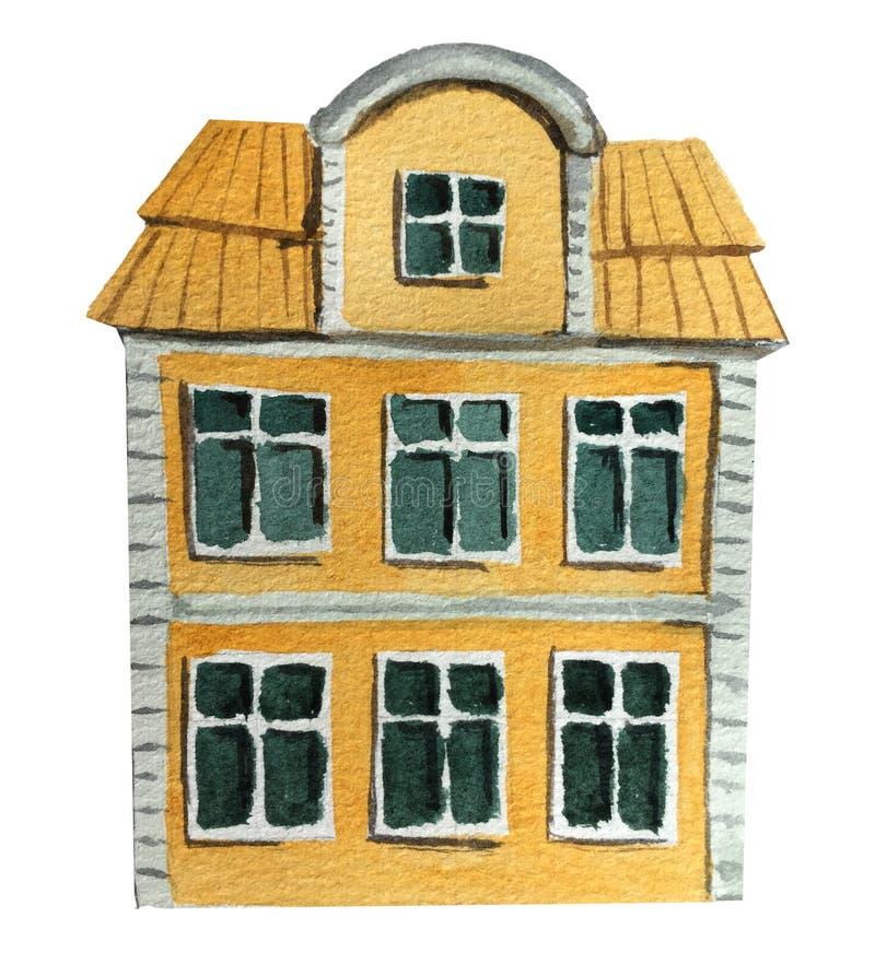 Casa europea vieja grande Ejemplo de la acuarela para el dise?o stock de ilustración